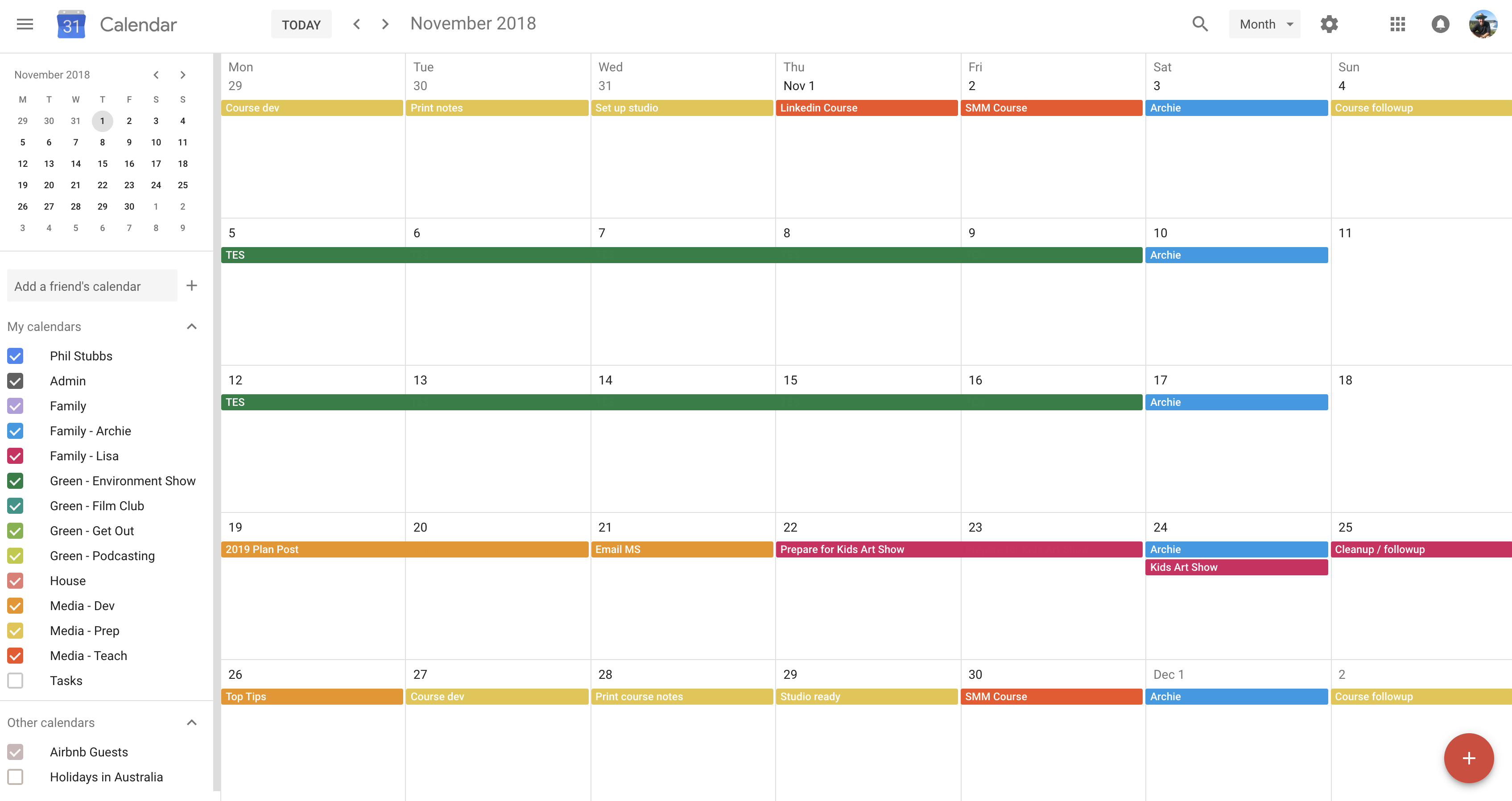 Plan work and life in Google calendar
