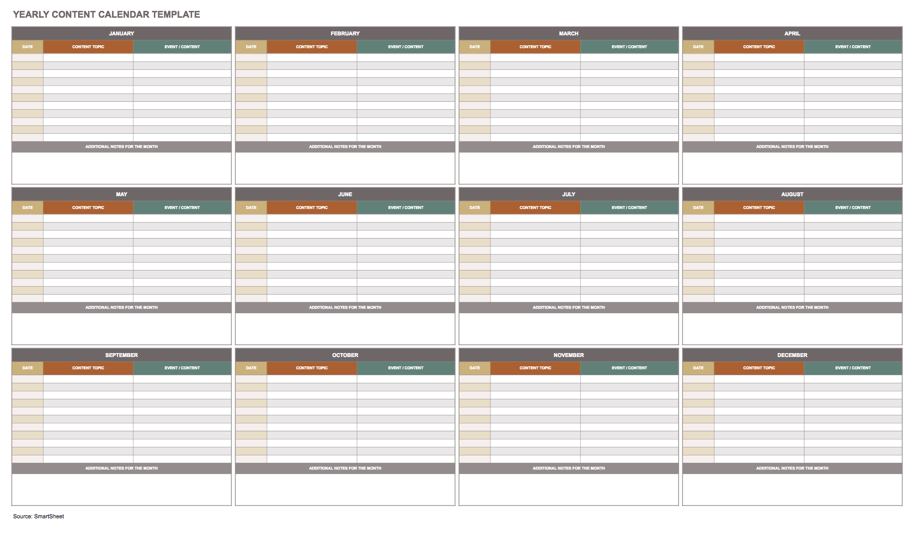 Yearly content marketing calendar template